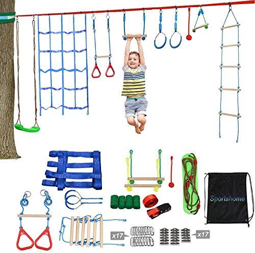 Ninja Warrior Obstacle Course para niños-Ninja Slackline 15M con los accesorios más completos para niños Swing Trapeze Swing Rope Ladder Obstáculo Net-Diviértete y mantente en forma Área de juegos al