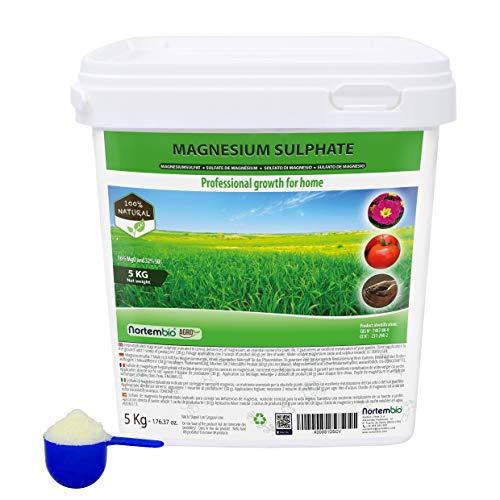 Nortembio Agro Sulfato de Magnesio Natural 5 Kg. Abono de Uso Universal. Favorece el Crecimiento de Cultivos, Jardines, Plantas de Interior y Exterior.