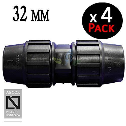 Pack 4 x MANGUITO ENLACE POLIETILENO 32MM. Producto con certificado AENOR utilizado en tuberías PE 32 mm para uso fontanería, riego y obras.