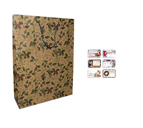 Paquete de 12 bolsas de regalo de Navidad extra grandes con estampado de acebo natural y etiquetas de regalo tradicionales