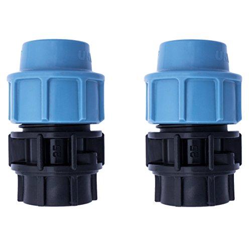 """Paquete de 2 accesorios reductor de compresión de plástico MDPE para tuberías de agua, 3/4"""" x 25 mm"""