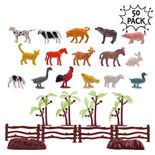 Paquete de 50 Animales de Granja Plásticos para niños - Incluye cubeta de plástico y accesorios, ideales para regalos de fiesta y rellenos de bolsas.