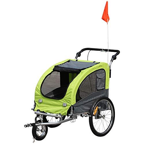 Pawhut Remolque Bicicleta Perros Carro Cochecito para Transporte Mascota 2 en 1 con Barra de Paseo Amortiguador Rueda Giratoria 360° Reflectores Carga Máx. 30kg