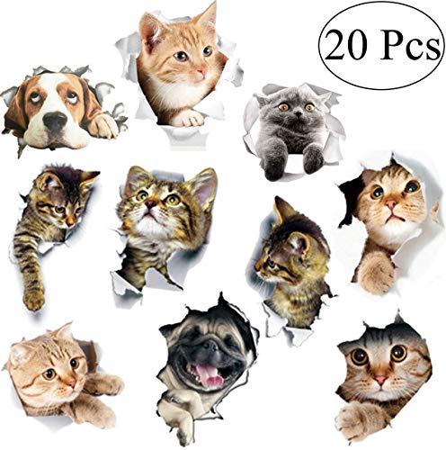 pegatinas de pared gato Fiyuer 20 Pcs etiqueta de la pared animal 3d calcomanías para Coche Ventana Inodoro Cuarto de Baño Dormitorio Guardería Cocina Decoración de Pared