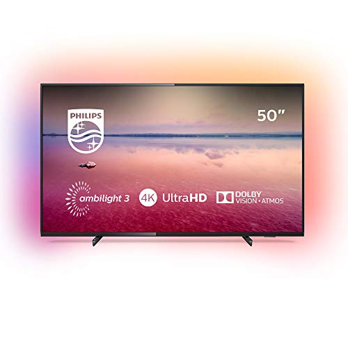 Philips 50PUS6704/12 - Televisor Smart TV LED 4K UHD, 50 pulgadas, Ambilight 3 lados, HDR 10+, Dolby Vision, Dolby Atmos, color negro