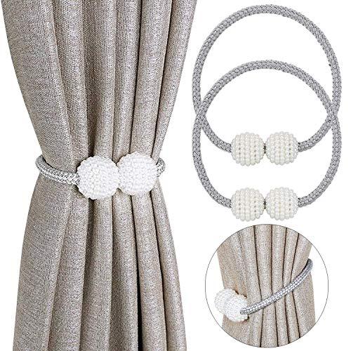 PINOWU [2 unidades] Abrazaderas magnéticas para cortinas, prácticas alzapaños de perlas decorativas para cortinas pequeñas, delgadas o transparentes (gris)