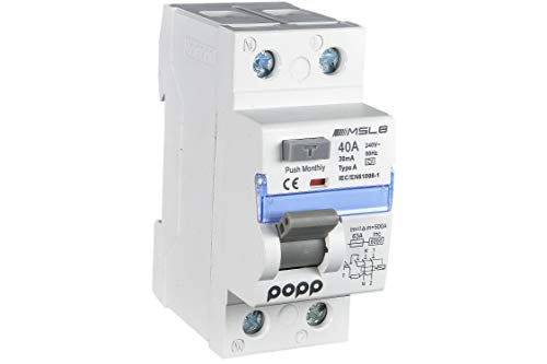 POPP® Electric Interruptor diferencial clase A industrial TIPO A 40A 30mA 1P+N MSL8A(1)