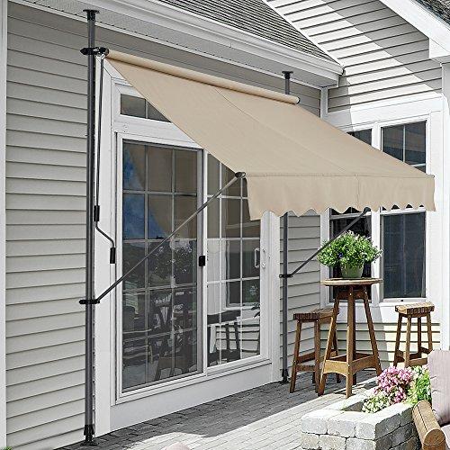 [pro.tec] Toldo articulado con armazón - Color de Arena - 150 x 120 x 200-300 cm - Toldo Enrollable terraza balcón - Protector de Sol - Parasol