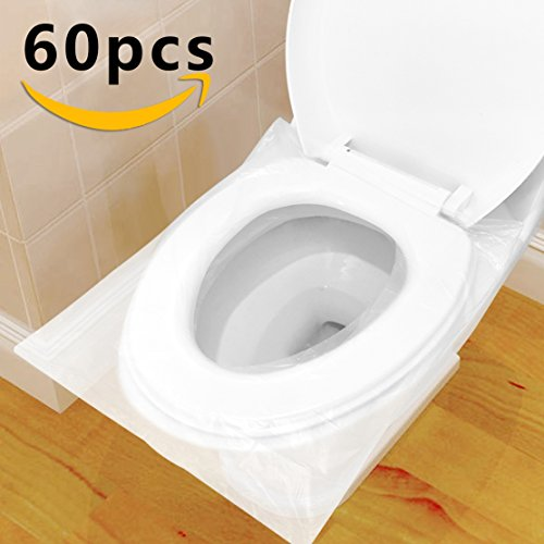 Protector WC Desechable Impermeable, HTBAKOI Protector Water Desechables Papel Cubre Inodoro 60 PCS Paquete Individual Material Antibacteriano Talla Universal Funda Desechable wc para Baño