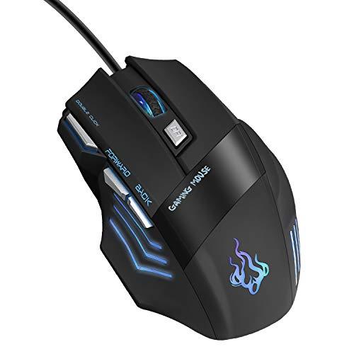 QueenDer Ratón Gaming, Ratones Gaming Profesional con Cable USB Gaming Mouse Óptico, 4 dpi Adjustables y 7 Botón Compatible con Windows 7, 8, 10, XP, Vista, ME, 2000 y Mac OS - Negro
