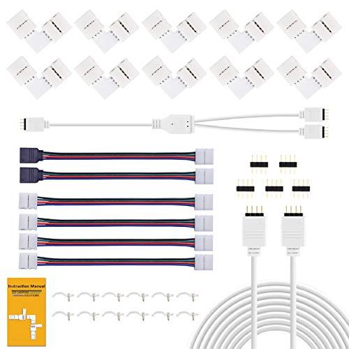 REDTRON Conector de tira LED,Conector LED RGB de 10mm que incluye 10x conectores en forma de L, Cable divisor de 2 vías, 4x puentes conectores de tiras[Clase de eficiencia energética A]