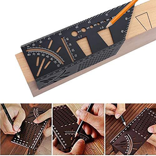 Regla de medición de tamaño cuadrado de aleación de aluminio para carpintería 3D, herramienta de medición de ángulo de ingleta, 45/90 grados para carpintero y carpintero accesorios