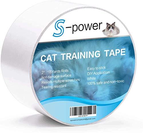 S-Power Cinta Adhesiva de Doble Cara para Entrenamiento de Gatos, fácil de Limpiar, Cinta Adhesiva de Doble Cara para Puerta, sofá, Muebles y Protector de arañazos de Piel, 2.5 Pulgadas x 15 Yardas