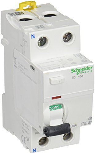 Schneider Electric A9R61240 iID Interruptor Diferencial, Clase A SI, 2P, 40A, 30mA, 73.5mm x 36mm x 91mm, Blanco
