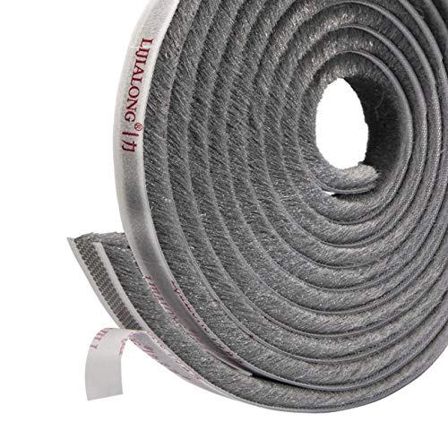 Sellado de cepillo autoadhesivo Burlete 4.9 m (L) x9 mm (W) x 9 mm (T) Tapón de aire de tiro Aire de alta densidad Excéntrico para puertas correderas Ventana y armario - Gris