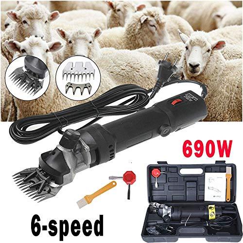 Sinbide 690W Maquina de Esquilar Eléctrica para Oveja Tijeras Máquinas para Esquiladora Tijeras de Lana Ovino Alpaca 6 Velocidades Ajustables Cuidado del Oveja (A-Negro)