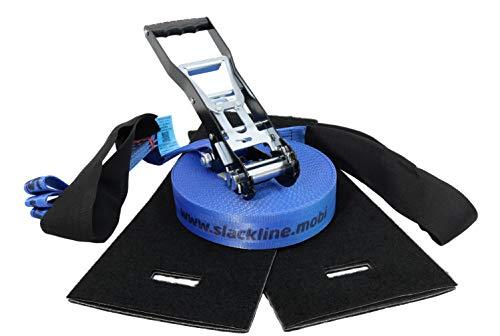 Slack-Liners - Juego Completo de Accesorios para Slackline (4 Piezas, 50 mm de Ancho, 20 m de Largo, con trinquete, Fabricado en Alemania), Color Azul