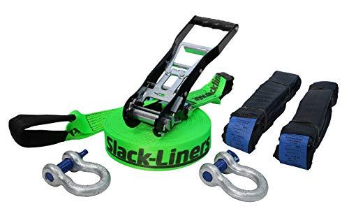 Slack-Liners - Juego Completo de Accesorios para Slackline (6 Piezas, 50 mm de Ancho, 25 m de Longitud, con trinquete de Palanca Larga, Fabricado en Alemania), Color Verde