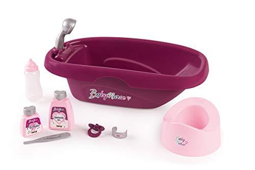 Smoby-Set bañera con Accesorios bebé y muñecas 220340, Color Rosa