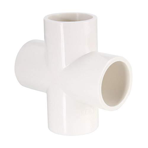 Sourcingmap - Accesorio de tubería de PVC, 4 vías de cruz, enchufe, accesorios de muebles de PVC para aspersor de riego