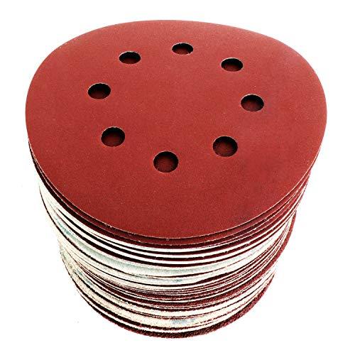 S&R Discos de Lija 125 mm con Velcro Papel abrasivo autoadhesivos. 60pzs: Grano cada 10 x 40/60/80/120/180/240 8 agujeros para Lijadora excéntrica
