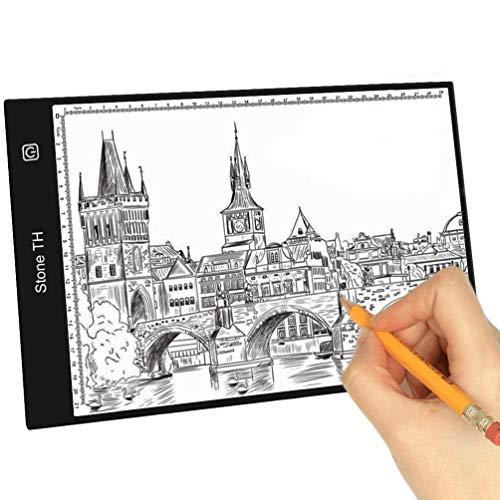 Stone TH Mesa de Luz para Calcar, LED Tableta de Luz Dibujo A4 de Iluminación de la Caja de Alimentación Micro USB Ideal para Animacion Tatoo Dibuja