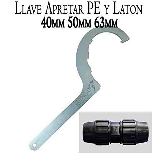 Suinga. LLAVE de apriete ACERO para FITTING de POLIETILENO y LATON. Accesorio para piezas de polietileno de 40mm, 50mm y 63mm