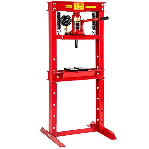 TecTake Prensa hidráulica de Taller Fuerza de presión Mandril Garage | Peso: 60 kg | manómetro Integrado - Varios Modelos - (12 toneladas | no. 401670)