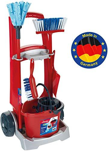 Theo Klein- Klein Cleaning Trolley Limpieza, fregona, Cubo, Escoba y Mucho más, Diseño de Vileda, Medidas del Carro: 29 cm x 24 cm x 60 cm, Juguete para niños a Partir de 3 años, Color rojo (6741)