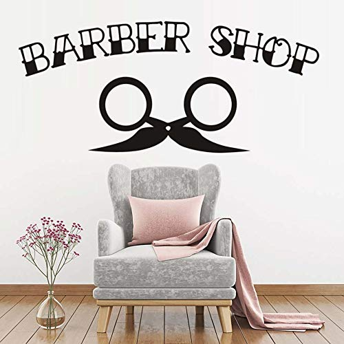 Tianpengyuanshuai Man Barber Shop Sticker Bearded Applique Hairdressing Vinyl Wall Art Applique Window Decoration Salon Sticker176x77cm
