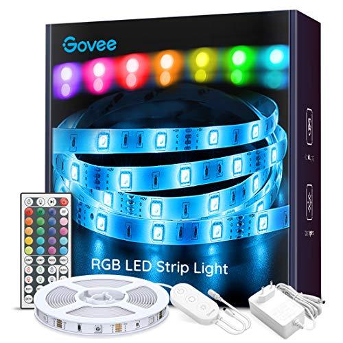 Tiras LED, Govee Luces LED RGB 5M 5050 con Control Remoto de 44 Botones y Caja de Control, 150 Tira LED 20 Colores 8 Modos de Brillo y 6 opciones DIY para la Habitación, Dormitorio, Techo, 12V