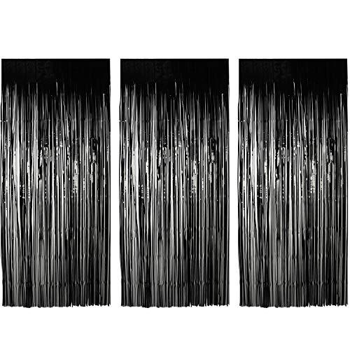 TUPARKA Cortinas de Papel de Aluminio de 3 Piezas Accesorios de telón de Fondo Cortina Brillante para Decoraciones de Fiesta de casa embrujada de Halloween (Negro)