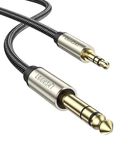 UGREEN Cable Jack 3.5mm a 6.35mm Macho a Macho, Cable Nylon Trenzado Audio Estéreo HiFi, Cable de Instrumento para Guitarra, Mezclador, Amplificador, Altavoces, Dispositivos de Cine en Casa (2Metros)