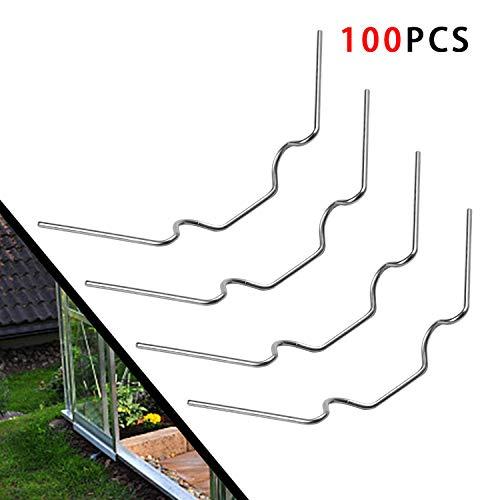 Ulikey 100 Pieza Invernadero Grapas, Montaje para Vidrio de Invernadero - Abrazaderas Extrafuertes de Acero Inoxidable, Accesorio para Invernadero Super Grueso (1.5mm)