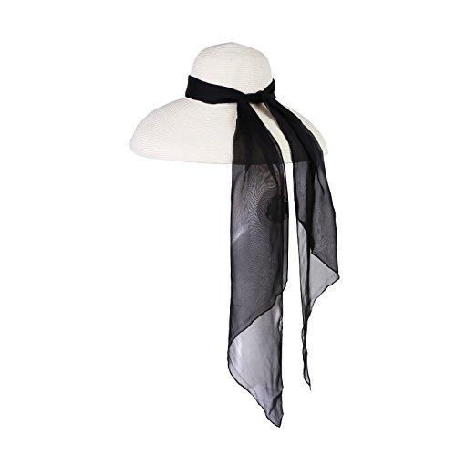 Utopiat sombrero blanco paja festivo estilo audrey con pañuelo de seda (Midnight Black)