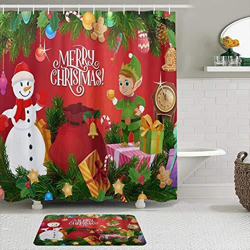vhg8dweh Juegos de Cortinas de baño con alfombras Antideslizantes, Navidad Duende Muñeco de Nieve Pino Acebo Ramas Bolas Moderno,con 12 Ganchos