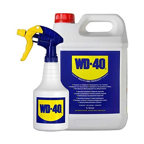 WD-40 Producto Multi-Uso- Garrafa 5L y pulverizador-. Lubrica, Afloja, Protege del óxido, Dieléctrico, Limpia metales y plásticos y Desplaza la humedad.Formato para usos intensivos