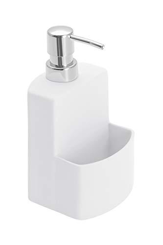 WENKO 3620115100 Dispensador de detergente para cocina True Colours Festival blanco - Soft-Touch superficie , 0.38 L, Cerámica Soft-Touch, 10 x 18 x 10 cm, Blanco