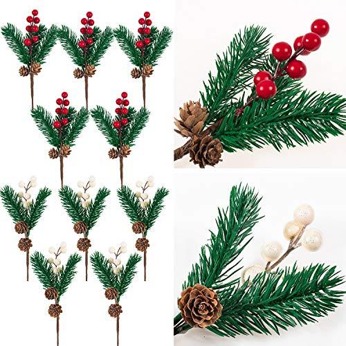 Whaline 10Pcs Bayas de Navidad Ramas de Pino, Conos de Pino Artificial Rojo y Blanco Ramas para Manualidades Navideñas Recolección de Guirnaldas y Vacaciones de Invierno de Florales Tallo de Acebo