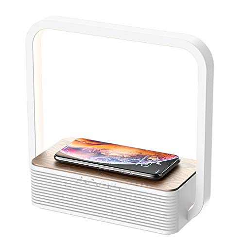 WILIT A15B Lámpara de Mesilla, Cargador Inalámbrico y Altavoz Bluetooth, Lámpara de Mesa de Madera Regulable 60 LED, Qi Cargador Inducción para Samsung Galaxy S10/S9/Note 10, iPhone 11/XS/XR/8, Blanco