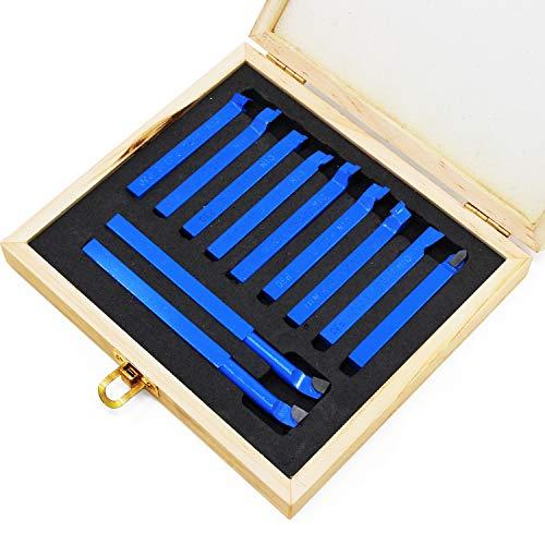 WiMas 11 UNIDS Punta de Carburo Herramienta, Cortador Inclinada Tipo de Soldadura Tornos de Torneado Fresado de Fresado para Herramientas de Torno de Metal (Azul)