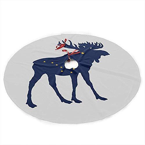 Winter-South Alaska State Moose Flag Albero di Natale Gonna Mat Decorazione Festa di Natale Piano ChristmasParties