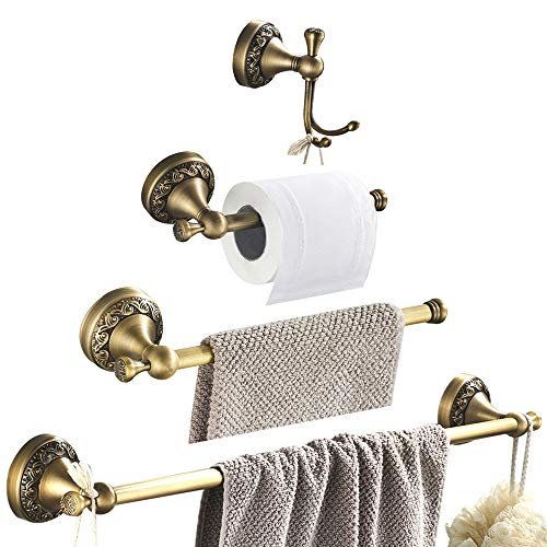WOMAO Accesorios de baño Antiguos Conjuntos 4 Piezas Robe Gancho Toalla Anillo Toalla Barra Papel higiénico Soporte, Todo en construcción de latón Montado en la Pared Estilo Retro con Tallas