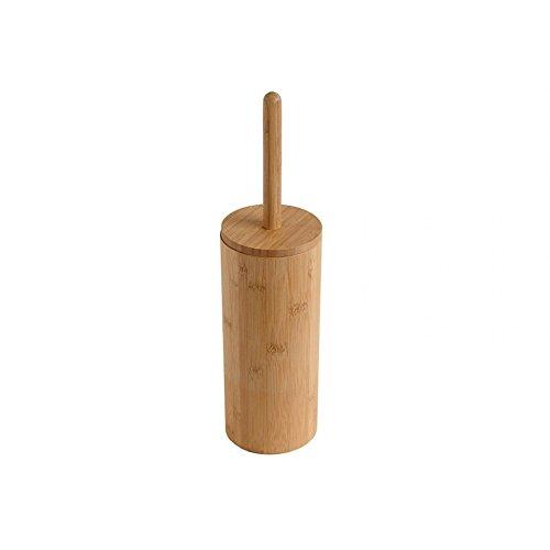 WoodLuv - Escobilla de baño redonda de madera de bambú natural