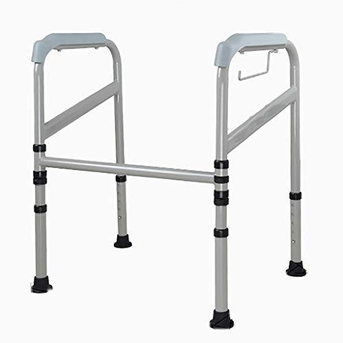 WRJY Barras de Apoyo Marco Envolvente para Inodoro con Barra de Agarre, Altura Ajustable Plegable, Marco de Seguridad para Inodoro, Ideal para Ancianos y discapacitados