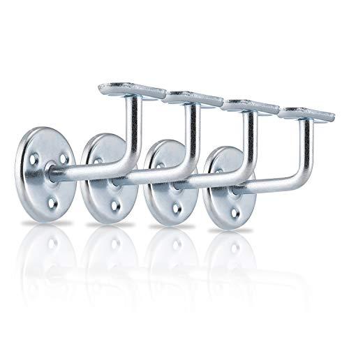 XFORT® Juego de 4 soportes de pasamanos de zinc, soportes de pasamanos de acero inoxidable para escaleras, soportes de pasamanos de madera y pasamanos de acero inoxidable con clase y estilo