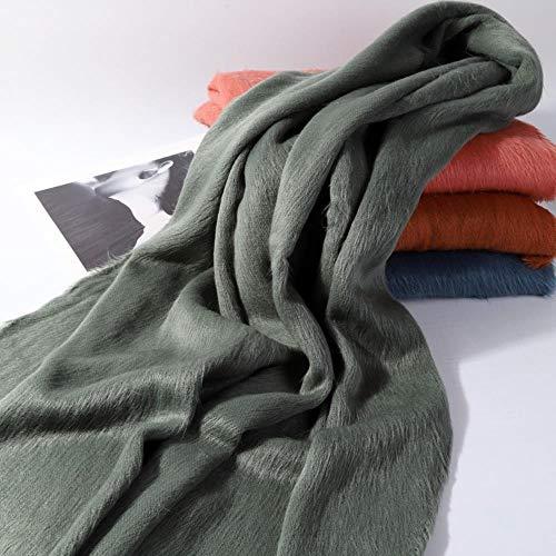XJHN Color sólido bufanda de pelo chal de doble uso bufanda larga hembra acebo verde fruta 200 x 60cm (280g)