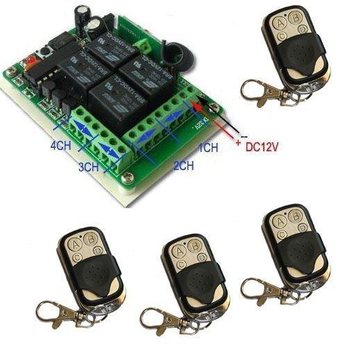 Yet - Récepteur 4canaux CH pour ouverture de portails automatiques + 4 télécommandes pour ouverture automatique de portails et volets - fréquence 433MHz