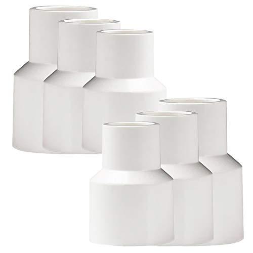 YOFASEN Conectores de Accesorios de tubería de PVC de 6 piezas - Conectores Adaptadores de tubería de agua, Blanco, 3 tamaños