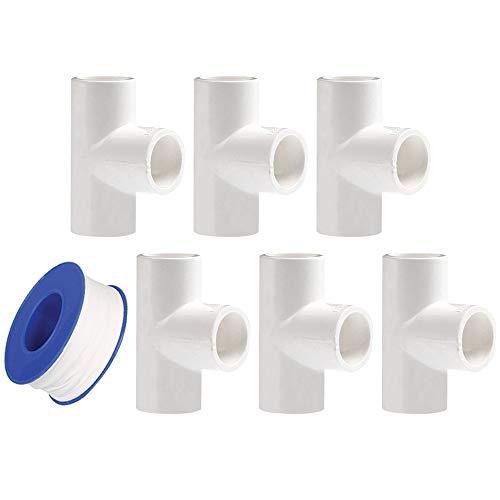 YOFASEN Conectores en T de PVC de 3 vías, 32mm - Adaptador de tubería de agua - Conector de Accesorios de Tubería de 6 Piezas con Cinta de Sellado